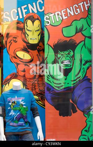 Marvel superhero comic store in NYC America of Iron man and the Incredible Hulk - Stock Photo