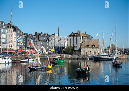 Lieutenance at the old port, vieux bassin, of Honfleur in the Calvados department of Normandy, France - Stock Photo