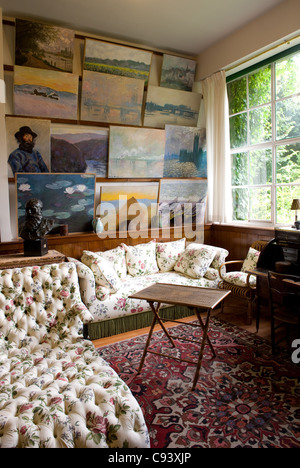 Salon of the famous Impressionist painter Claude Monet in his home at rural Giverny in the Seine valley of Normandy, - Stock Photo