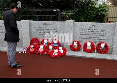 A member of the public looks at the newly dedicated City of Sunderland Memorial Wall in Sunderland, Tyne and Wear, England. The Remembrance Day ceremony honoured service people who have fallen in conflict and dedicated the wall, built with funds raised by Brothers in Arms.
