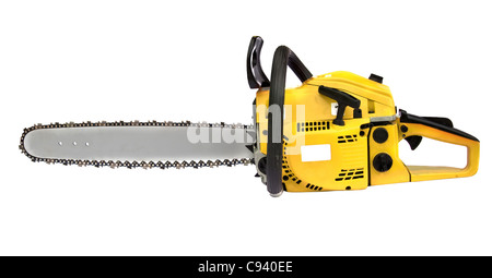 yellow chainsaw isolated on white background - Stock Photo