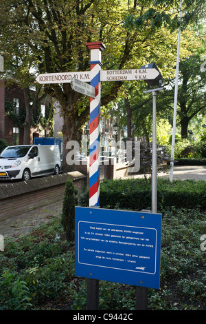 Replica of the first signpost of the Dutch Automobile Association - Stock Photo