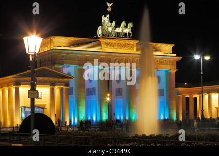 Brandenburg Gate during festival of lights in Berlin in October 2011, Germany; Brandenburger Tor - Festival des - Stock Photo