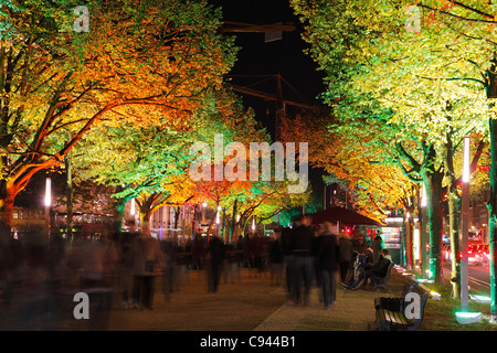 Unter den Linden in Berlin during festival of lights 2011; Street Under The Lime Trees - Stock Photo