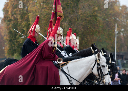 Troopers from the Blues and Royals at Horse Guards Parade in London - Stock Photo