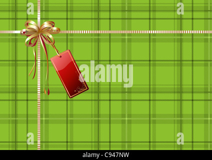 illustration of green Scottish plaid gift wrapping with golden ribbon, bow and red empty tag - Stock Photo