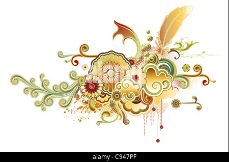 illustration of urban retro styled design made of floral and ornamental elements. - Stock Photo