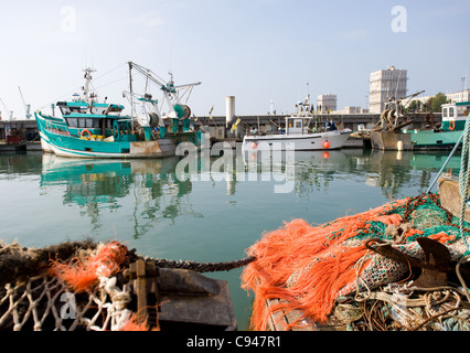 Bassin de la Manche, fishing harbour of Le Havre, port city and unesco world heritage on the Seine estuary in Normandy, - Stock Photo