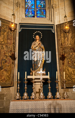 Virgin Mary statue, inside The Cathedral of the Holy Cross and Saint Eulalia, Barcelona, Spain - Stock Photo