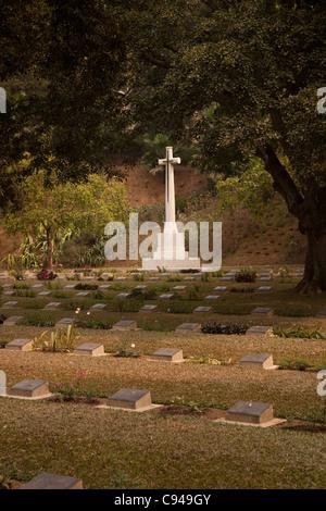 India, Assam, Guwahati, Silpukhuri, Navagraha Road, Commonwealth War Graves Commission War Cemetery cross - Stock Photo