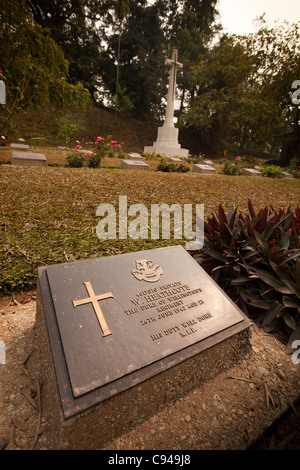 India, Assam, Guwahati, Commonwealth War Graves Commission War Cemetery headstone to Private W Heathcote - Stock Photo