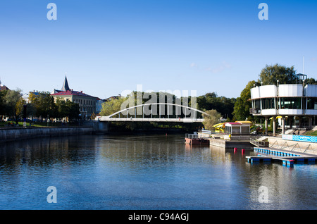 Estonian city Tartu seen over river Emajogi ( Mother river). - Stock Photo