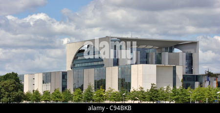 the Bundeskanzleramt in Berlin (Germany) at summer time in front of partly clouded sky - Stock Photo