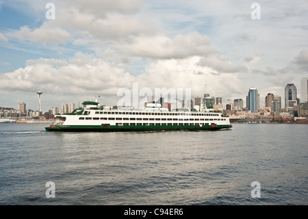 A car ferry in front of downtown Seattle - Stock Photo