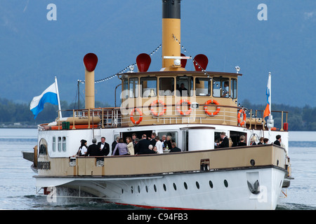 Ludwig Fessler Ferry Boat with VIP Passengers on the Chiemsee, Chiemgau Upper Bavaria Germany - Stock Photo