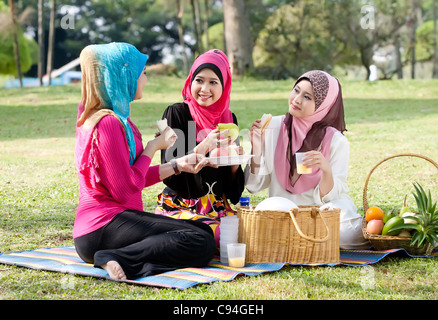 Young muslim woman wearing scarf while relaxing and eating with friends in the park - Stock Photo