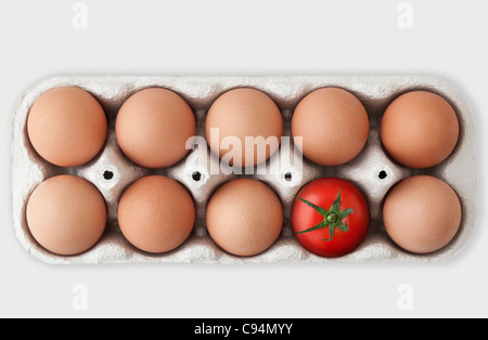 Cardboard box containing nine brown hen eggs and one single red tomato, signifying an Odd One Out concept - Stock Photo