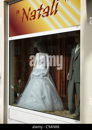 Bridal gown in a shop window in Hamburg, Germany - Stock Photo