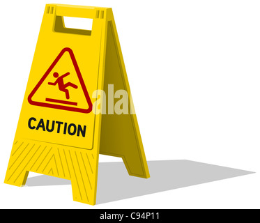 Wet floor and cleaning in progress - Wet floor and cleaning in progress sign isolated on white background - Stock Photo