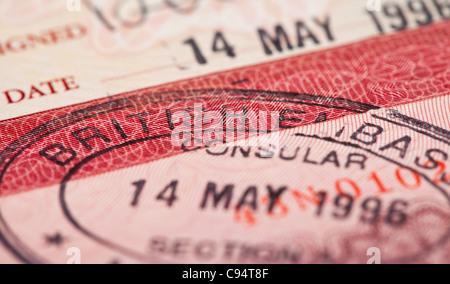 British visa stamp in your passport - Stock Photo