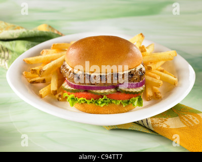 Hamburger on a bun with lettuce, tomato, pickles and onions served with french fries - Stock Photo