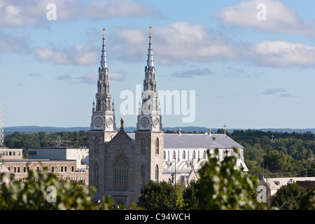 Notre-Dame Cathedral Basilica. An Ottawa landmark in the heart of lowertown, as viewed from Parliament Hill. - Stock Photo