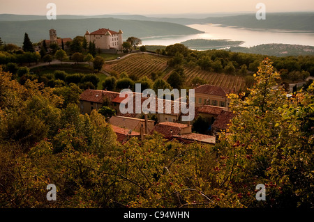 french chateau in the village of Aiguines overlooking Lac de Sainte Croix, France, Provence, - Stock Photo