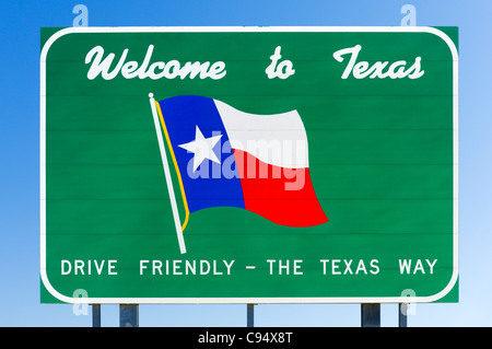 Welcome to Texas sign on the US/Mexican border, Texas, USA - Stock Photo