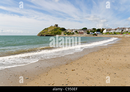 Criccieth beach in North Wales - Stock Photo