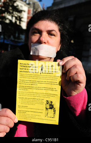 Hardest Hit Demonstration Nottingham's Old Market Square.Silent Protest. - Stock Photo