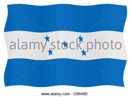Digital illustration - Honduran Flag - Stock Photo