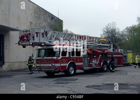 E-One 105' Rear Mount Ladder Truck.