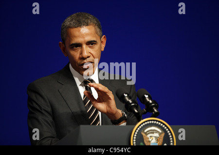 BARACK OBAMA PRESIDENT OF THE U.S.A 04 November 2011 PALAIS DE FESTIVAL CANNES FRANCE - Stock Photo