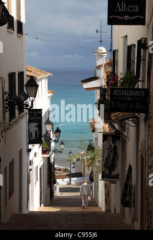Street in the old town of Altea, Spain - Stock Photo