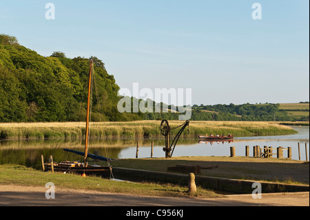 Cotehele Quay, Cornwall, UK. Evening on the River Tamar - Stock Photo