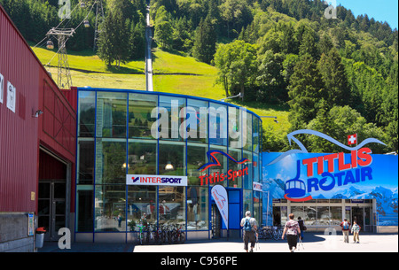 Base Station of the Mount Titlis Cable Car in Engelberg, Switzerland - Stock Photo