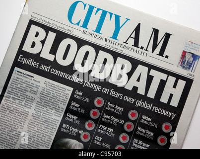 City AM newspaper headline on stock market crash, London - Stock Photo