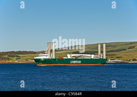 Enercon owned E-SHIP 1 makes its way past Nigg opposite Cromarty on the Black Isle in Scotland en route to Invergordon - Stock Photo