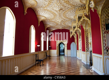 Strawberry Hill House, Twickenham, London - The Gallery with ceiling design from Westminster Abbey - Stock Photo