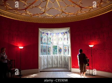 Strawberry Hill House, Twickenham, London - The Round Drawing-Room - Stock Photo
