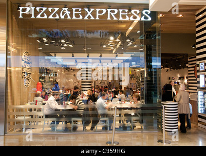 Pizza Express restaurant, Westfield shopping mall centre, Stratford, london UK - Stock Photo