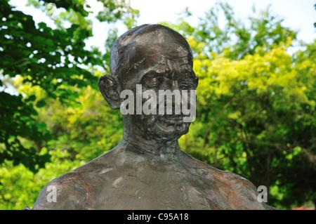 Statue of Mahatma Gandhi in the Indian garden at International Peace Gardens, Jordan Park in Salt Lake City, Utah - Stock Photo
