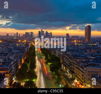 Panorama of Paris at sunset - Stock Photo