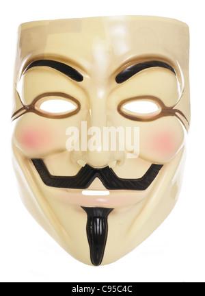Guy Fawkes mask studio cutout - Stock Photo