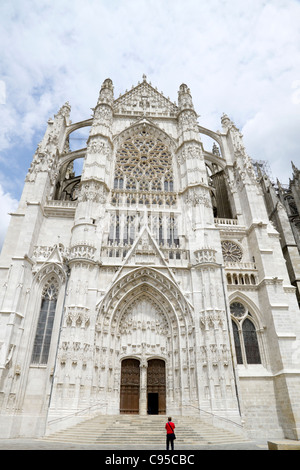 Cathedral of St Peter in town of Beauvais France and glimpse of cleaning scaffold - Stock Photo