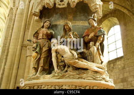 A scene of the pieta in the Cathedral of St Peter in the town of Beauvais France - Stock Photo