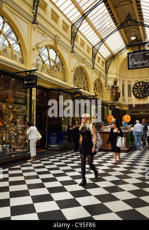 Shoppers in the Royal Arcade in central Melbourne, Victoria, Australia - Stock Photo