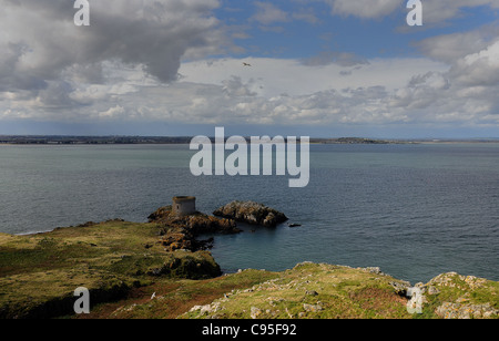 THE MARTELLO TOWER ON IRELANDS EYE AT HOWTH, SOUTHERN IRELAND - Stock Photo