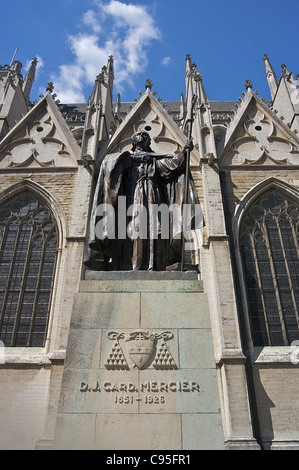 Statue of Cardinal Mercier in front of Cathédrale Saints-Michel-et-Gudule (St. Michael and St. Gudula Cathedral) - Stock Photo