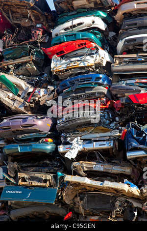 Detroit, Michigan - Junk cars crushed and ready for recycling at a scrap yard. - Stock Photo